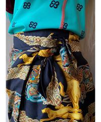 スカーフ調柄巻きデザインミニスカート