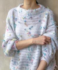 白 ペールカラフルふさふさセーター