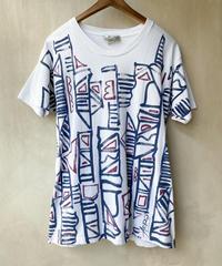 幾何学ペイントプリントTシャツ