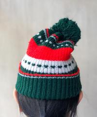 白赤グリーンニット帽