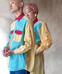 イエローボルドー水色袖刺繍シャツ