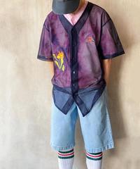 WATARU TOMINAGA×OTOE ピンクタイダイTメッシュシャツ