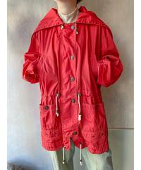 赤色フードzip付きウエスト絞りジャケット
