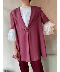 ボルドーフード付き半袖ジャケット