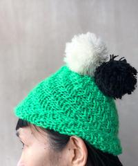 グリーンポンポン2コニット帽