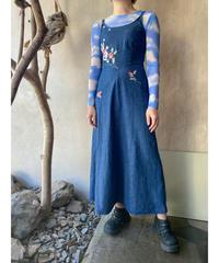 デニム花刺繍ビジュー付きキャミワンピース