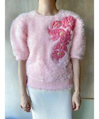 ピンク花もけもけ半袖セーター