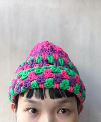 ピンクパープルグリーンニット帽