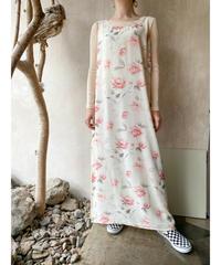 オフホワイトピンク花ノースリーブスリットワンピース
