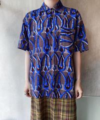 青茶色総柄半袖シャツ