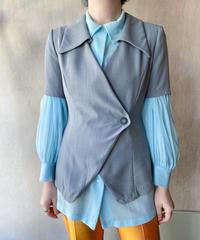 グレー半袖デザインジャケット