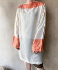 オレンジ金糸ボーダーロングシャツ