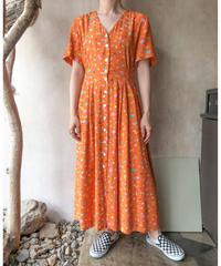 オレンジ小花柄半袖ロングワンピース