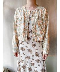 ベージュオレンジ花柄ショートジャケット