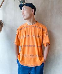 オレンジ柄ラインTシャツ