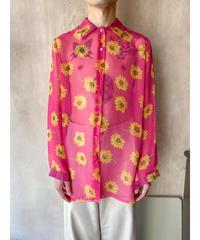 ピンク花シースルーシャツ