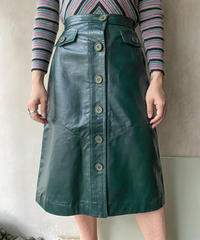 グリーンレザースカート