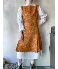 オレンジ金糸ジャガードワンピー