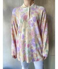 コットン花柄襟付きセーター