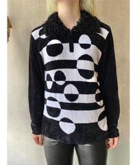 黒白モールヤーンZIPセーター