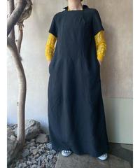 黒半袖デザインロングワンピース