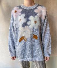 グレーお花セーター