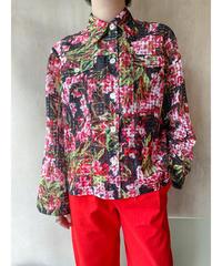 シースルーピンク黒花柄ジャケットブラウス