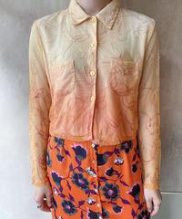 オレンジグラデーションシースルー刺繍ブラウス