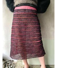ピンク×黒レーススカート