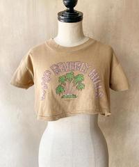 ベージュヤシの木ショート丈Tシャツ