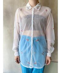 シースルー花刺繍シャツブラウス