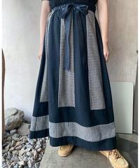 ウール黒白チェック切替ロングスカート