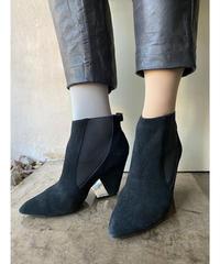 クリアヒールアンクル黒ブーツ 24cm