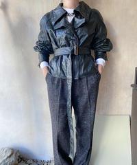 黒レザーデザインライダースジャケット