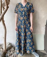 紺花柄半袖ロングワンピース