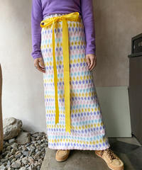 ペールトーンダイヤ柄黄色リボンロングスカート