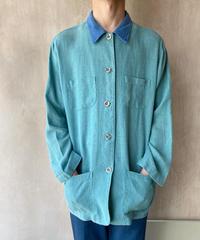 リネングリーンブルーシャツジャケット