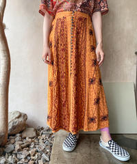 ケミカルインディアンキャメルフロントボタンロングスカート
