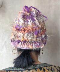 パープルオレンジMIXニット帽