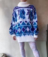 白ブルーバラ◇セーター