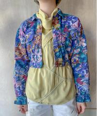 ネイビーボルドーグリーン花ペイント柄ショートジャケット
