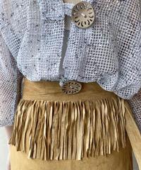 ベージュスエードフリンジ巻きスカート