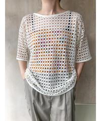 白コットンメッシュTシャツ