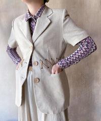 リネン紐デザイン半袖ジャケット