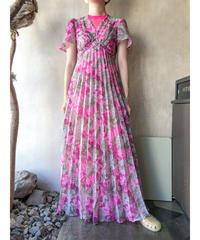 グレーピンク花ロングワンピース