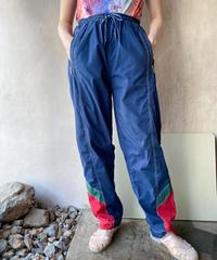 ネイビー裾グリーン赤ジャージパンツ