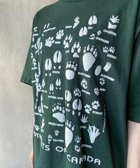ダークグリーン足跡プリントTシャツ