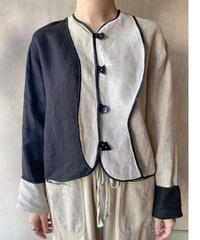 リネン黒ベージュ切り替えデザインジャケット