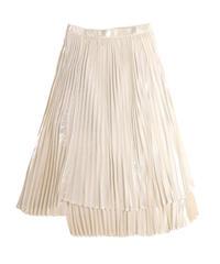 【tactor】Random pleated lame skirt/white