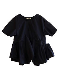 【RUMCHE】Back line print blouse/Black